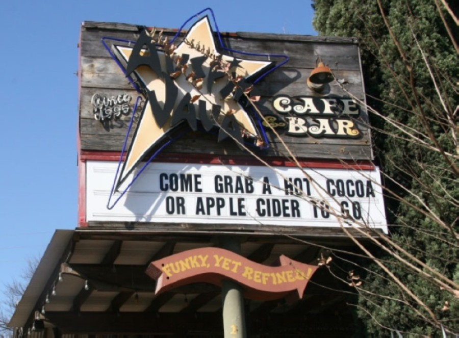 A photo of a sign for Austin Java