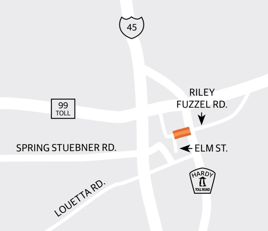 A notice to proceed with construction was issued April 13 on a project to widen Riley Fuzzel Road from a two-lane asphalt roadway to a five-lane concrete paved section with improved drainage between Elm Street and the Hardy Toll Road. (Graphic by Ronald Winters/Community Impact Newspaper)