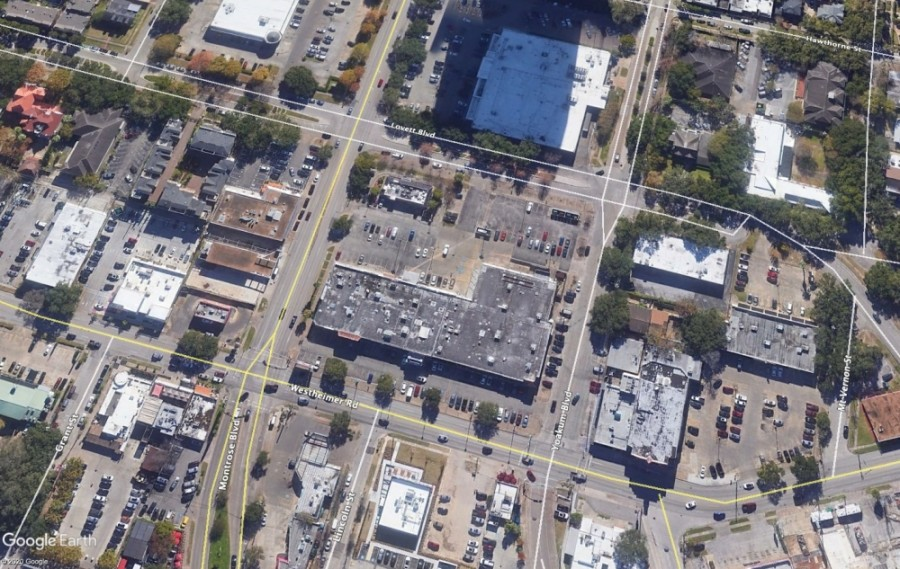 The retail center at at 1001 Westheimer Road has been purchased for a forthcoming mixed-use development. (Courtesy Google Earth)