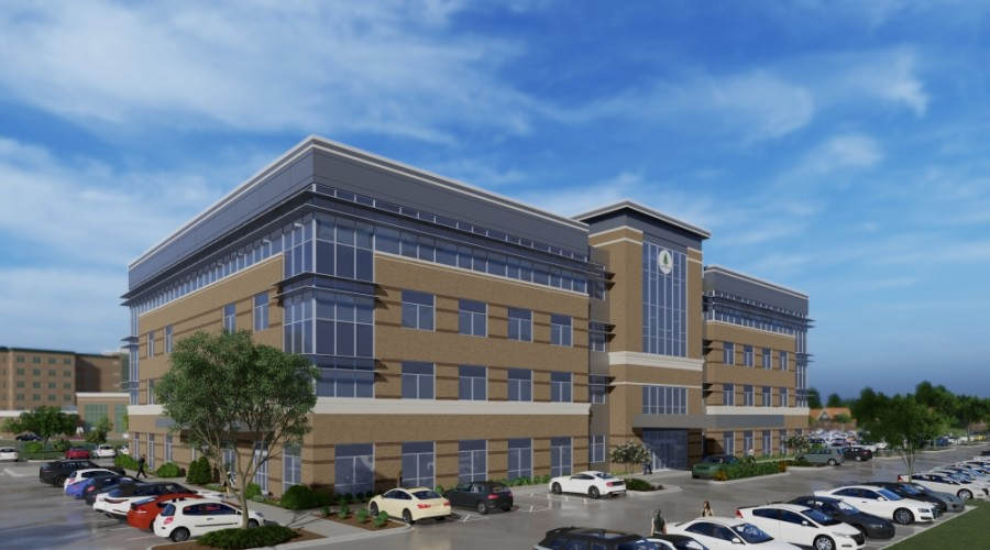 Work is underway on a new four-story, 110,000-square-foot medical office building at Huffmeister Road and Hwy. 290 in Cypress. (Rendering courtesy NexCore Group)