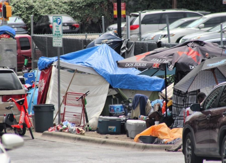 A camp is set up by someone experiencing homelessness in August 2019. (Christopher Neely/Community Impact Newspaper)