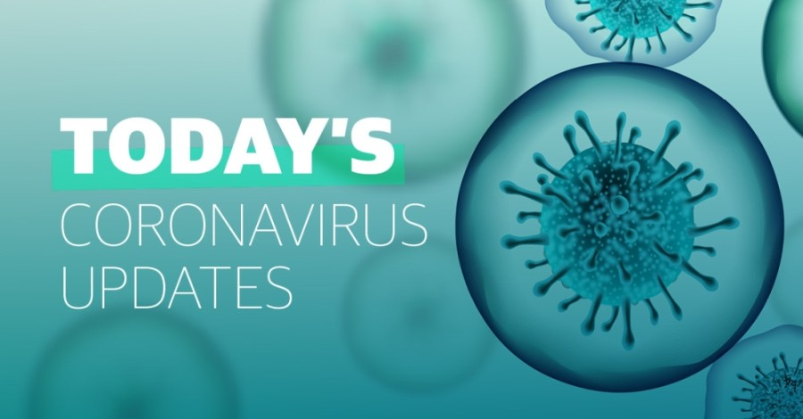 A teal coronavirus graphic
