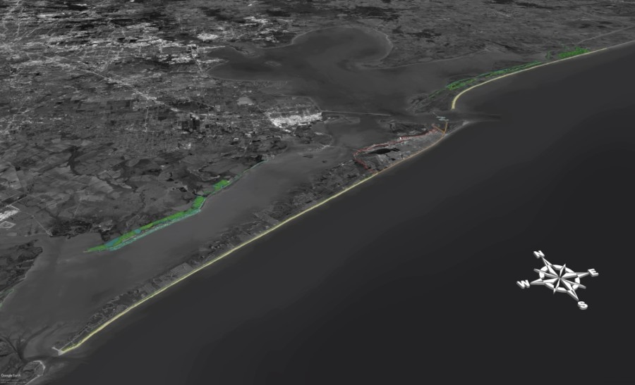 Originally, the Coastal Texas Study included a proposal to build 76 miles of flood walls and levees to protect Galveston Island and the Bolivar Peninsula from flooding during hurricanes. (Courtesy Coastal Texas Study)