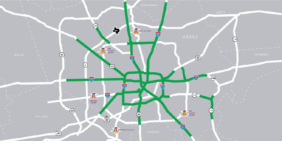 A map depicts the Houston-area freeways where the Tow and Go program is available. The program offers free towing service to stranded motorists. (Courtesy Tow and Go)