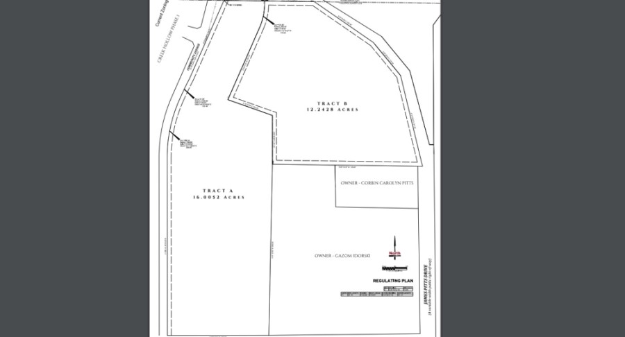 In this layout, Tract A will be allocated for townhomes, and Tract B along James M. Pitts Drive will be developed with multifamily units. (Courtesy city of McKinney)