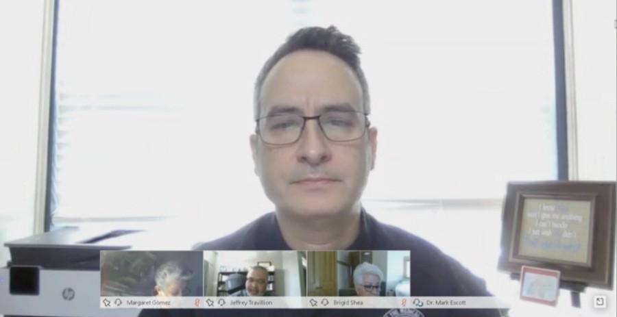 A screen shot of Dr. Mark Escott's face