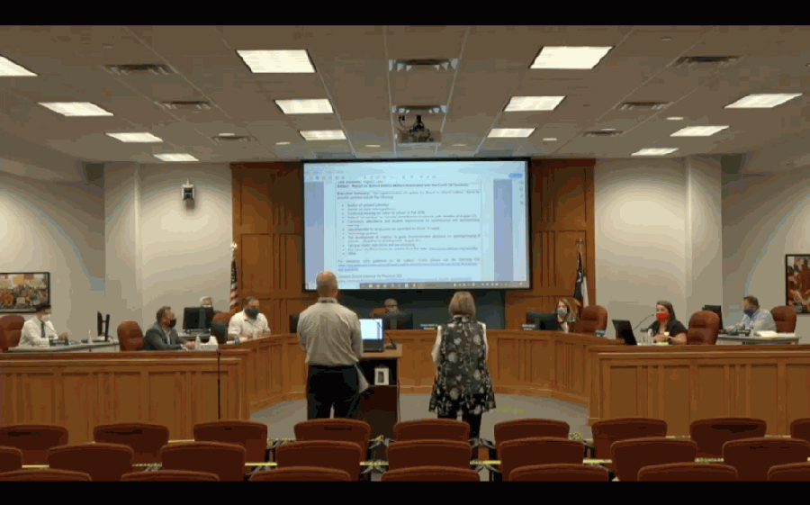 The Pearland ISD board of trustees discusses the coronavirus' effect on the school year with staff at the  Aug. 11 board meeting. (Community Impact Staff screenshot)