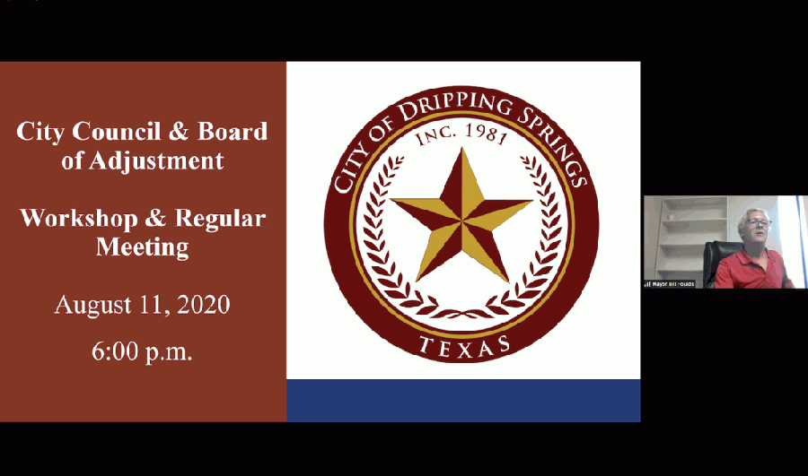 Dripping Springs Mayor Bill Foulds welcomes the community to a virtual City Council meeting Aug. 11. (Courtesy city of Dripping Springs)