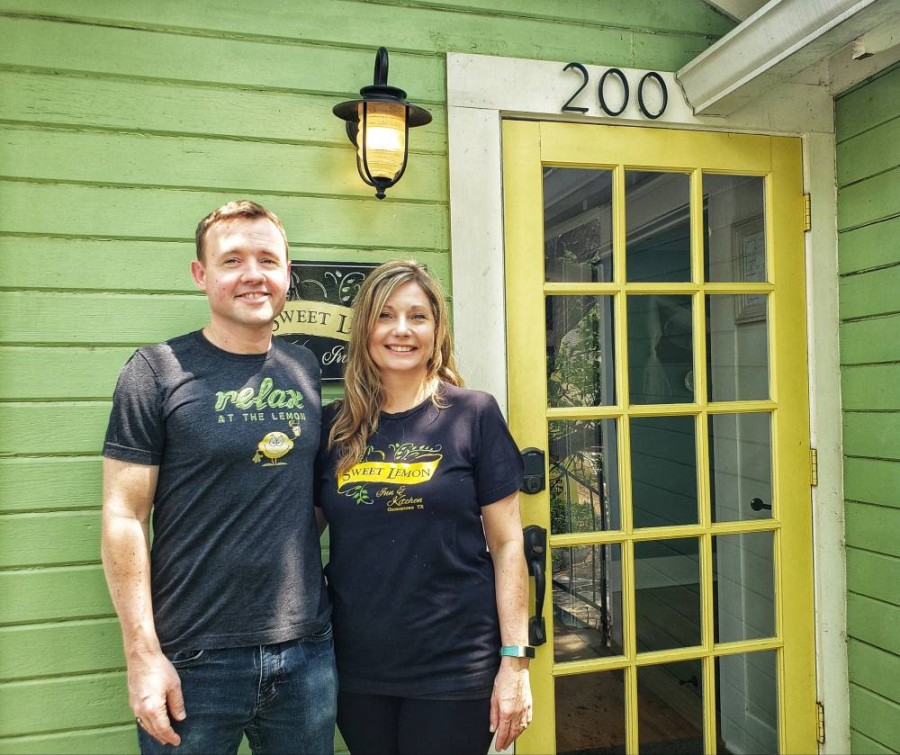 Kevin and Rachel Cummins own Sweet Lemon Kitchen in Georgetown. (Ali Linan/Community Impact Newspaper)