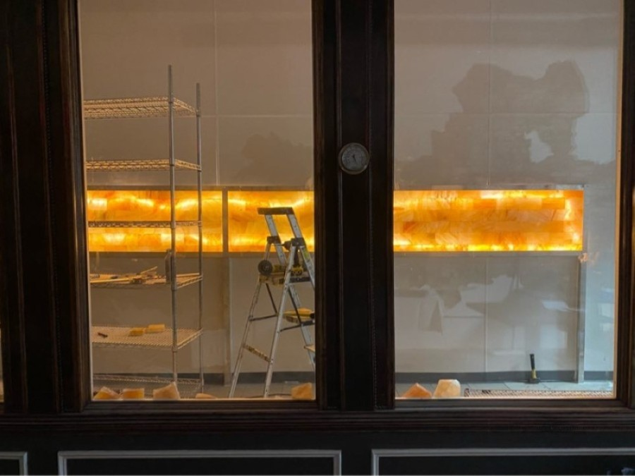 The aging room is being prepared for business at the new downtown butcher shop. (Courtesy Bar-Ranch Steak Co.)