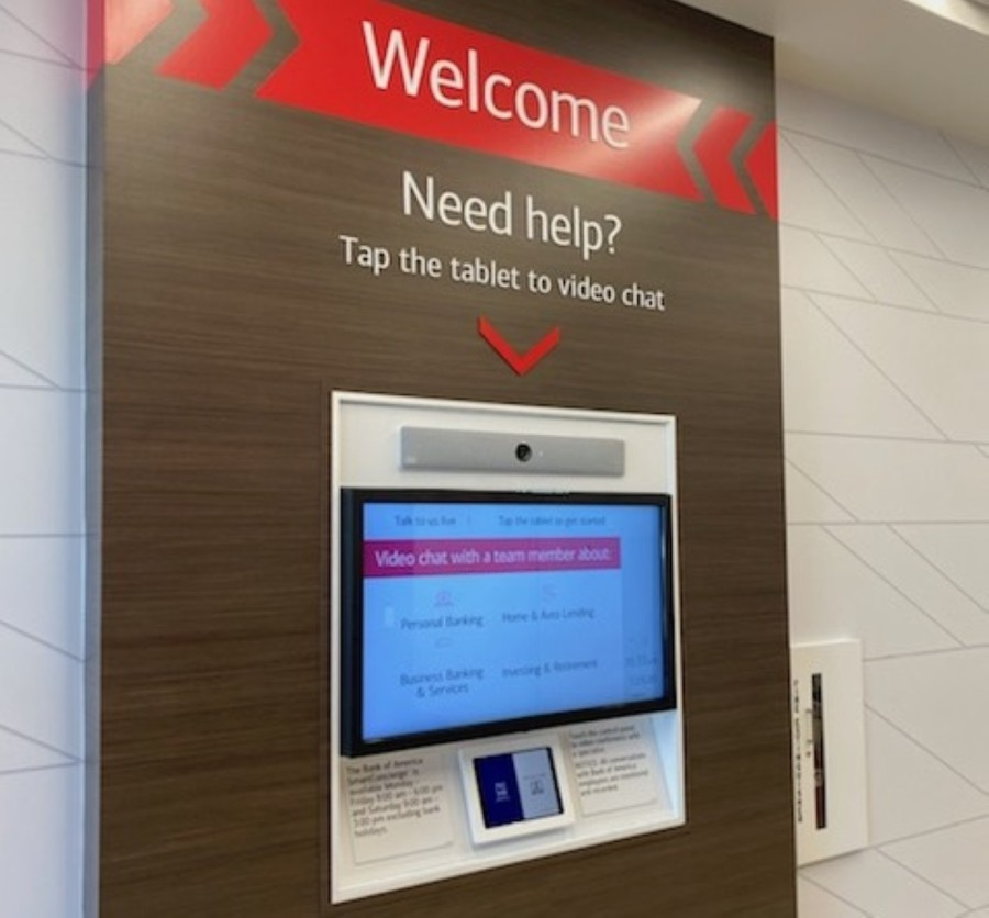 Advanced Centers are not staffed with full-time bankers. Instead, digital greeters assist customers with their transactions or connect them to banking specialists via video conference. (Courtesy Bank of America)