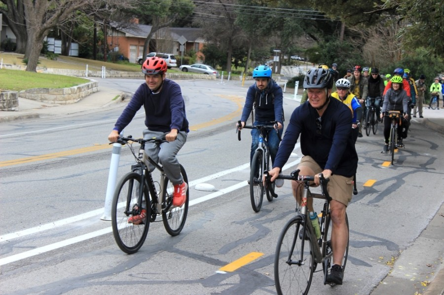 Bikers ride up Shoal Creek Boulevard in February. A bond proposal from Austin would fund additional bike lanes, sidewalk reconstruction, capital improvements and more. (Jack Flagler/Community Impact Newspaper)