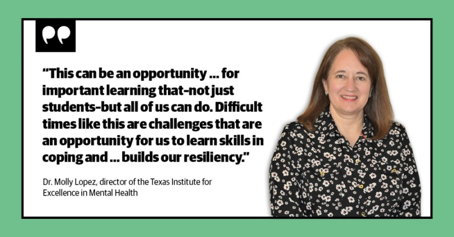 Dr. Molly Lopez is the director of the Texas Institute for Excellence in Mental Health and also serves as a research associate professor at the Steve Hicks School of Social Work at The University of Texas at Austin. (Designed by Stephanie Torres/Community Impact Newspaper)
