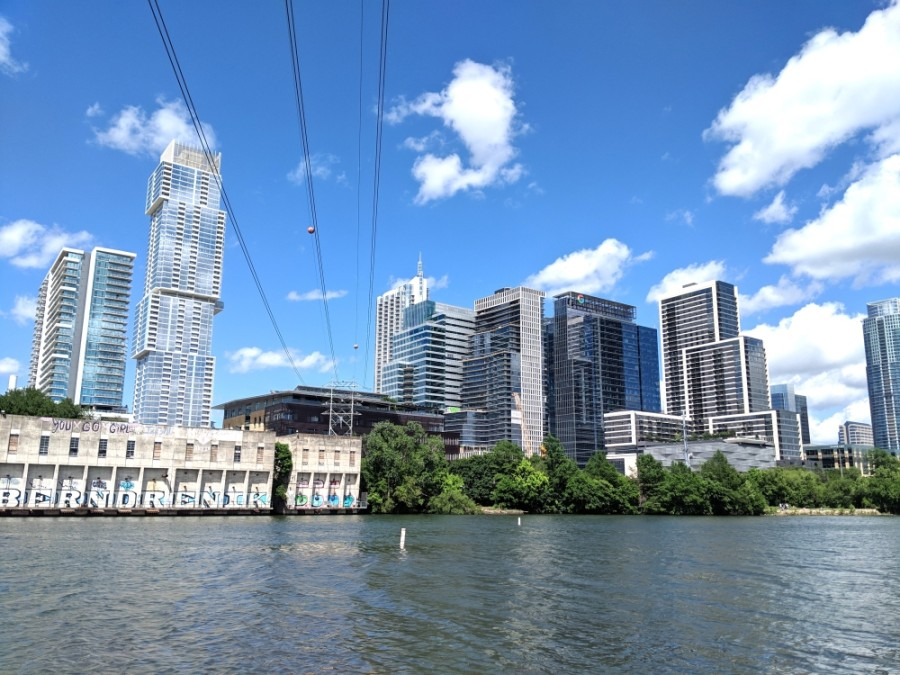 Downtown Austin can be seen from Lady Bird Lake. (Iain Oldman/Community Impact Newspaper)