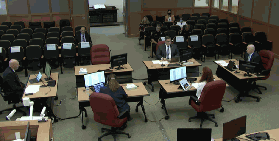 Collin County commissioners discuss the county's COVID-19 dashboard during their Aug. 17 meeting. (Screenshot courtesy of Collin County)