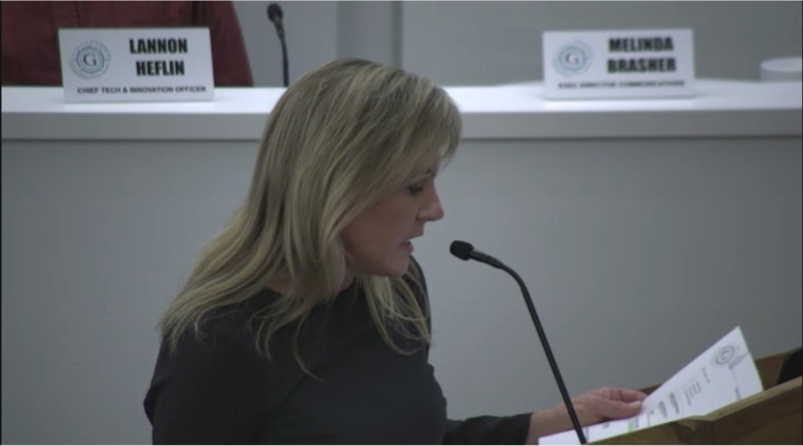 GISD Chief Financial Officer Pam Sanchez recommends the board adopt a tax rate of $1.3071 per $100 in valuation for the 2020-21 fiscal year. (Screenshot courtesy Georgetown ISD)