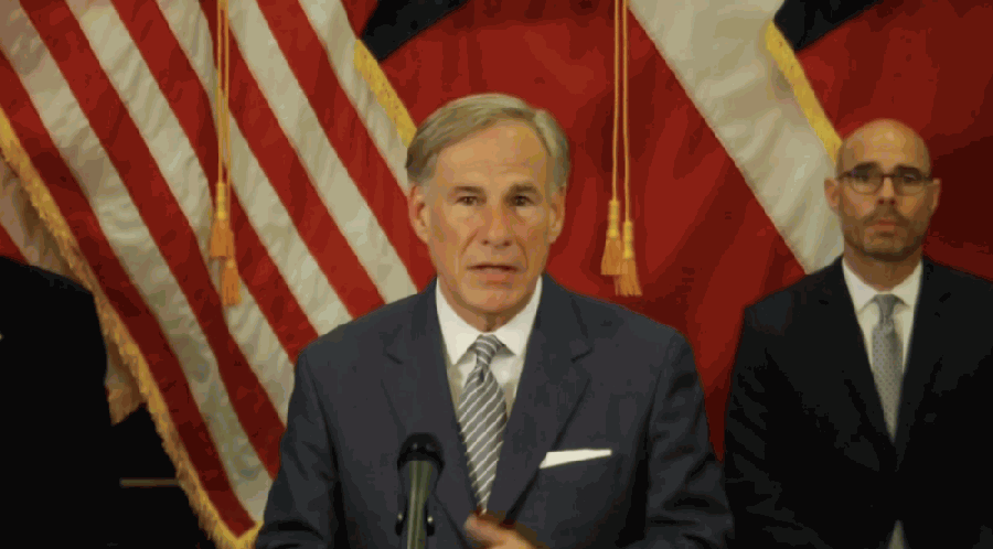 Gov. Greg Abbott announced a proposal Aug. 18 to keep cities from increasing property tax revenue if they decrease police department funding. (Screenshot of April 17 press conference)