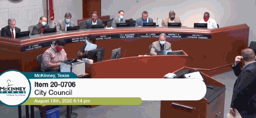 McKinney City Council revised its policy for public comments at its Aug. 18 council meeting. (Screenshot via meeting livestream)