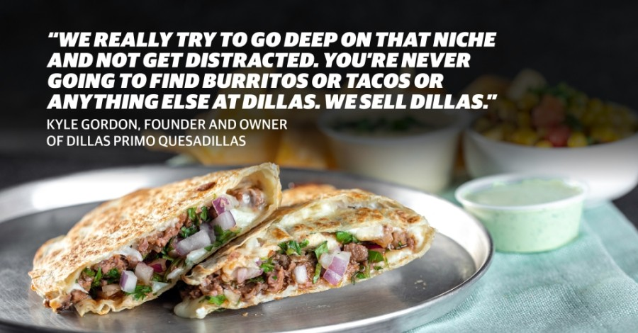 The Lone Star is a bestseller at Dillas, according to founder and owner Kyle Gordon. The quesadilla comes with smoked brisket, red onion, cilantro, barbecue sauce, a cheese blend and jalapeño ranch. (Photo courtesy Dillas Primo Quesadillas; Design by Chelsea Peters/Community Impact Newspaper)