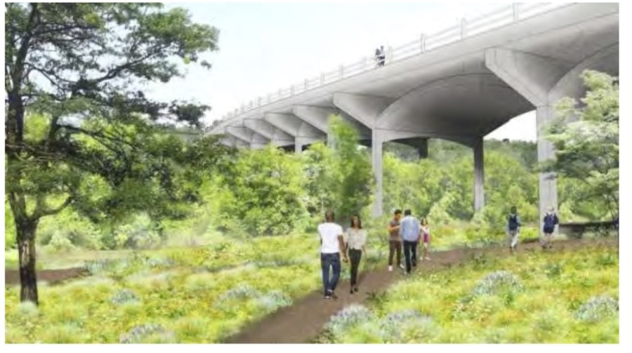 A rendering shows a possible future South Pleasant Valley bridge over Onion Creek Metropolitan Park and Onion Creek in South Austin. (Rendering courtesy Austin Corridor Program Office)