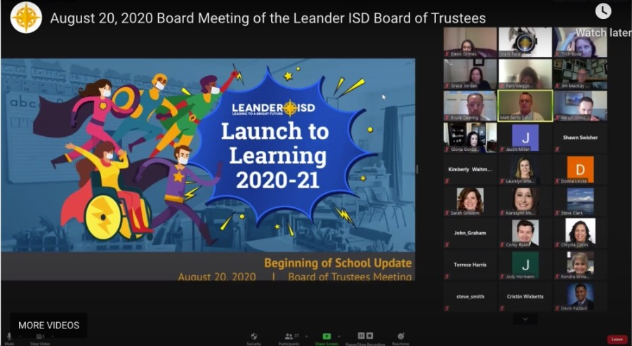 Leander ISD officials offer a phased-in, in-person learning plan recommendation to the school board. (Screenshot courtesy Leander ISD)