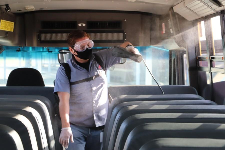 Katy ISD is sanitizing school buses between each trip. (Courtesy Katy ISD)