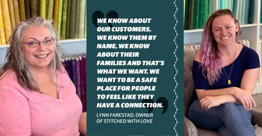 Owner Lynn Farestad started Stitched with Love in McKinney with her daughter Lyssa Rel in 2013. (Photo courtesy Stitched with Love) (Designed by Chelsea Peters/Community Impact Newspaper)