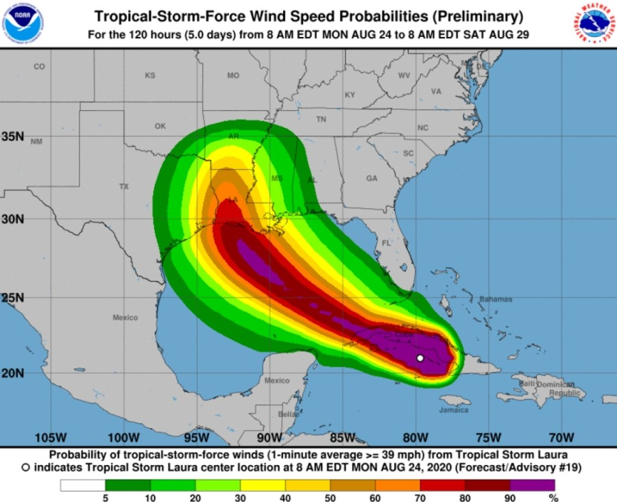 A graphic from the National Weather Service shows wind speed probabilities for Tropical Storm Laura as of 10:55 a.m. Aug. 24. (Screenshot Courtesy National Weather Service)