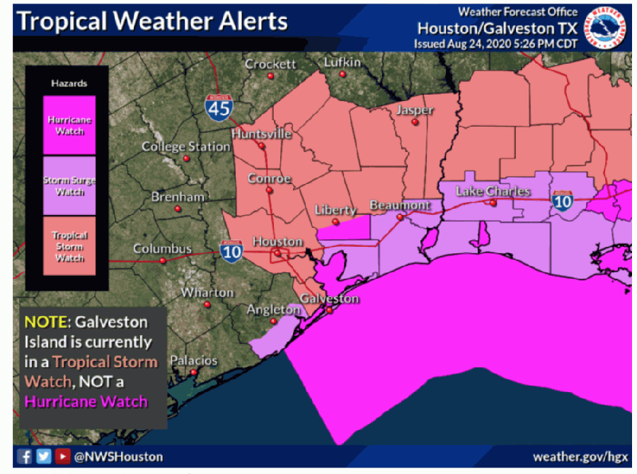 The National Weather Service issued tropical storm watches, storm surge watches and hurricane watches for portions of the Houston and Galveston area. (Screenshot courtesy National Weather Service Houston)