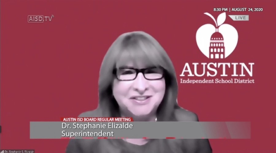 Austin ISD Superintendent Stephanie Elizalde participated in her first board of trustees meeting Aug. 24. (Courtesy Austin ISD)