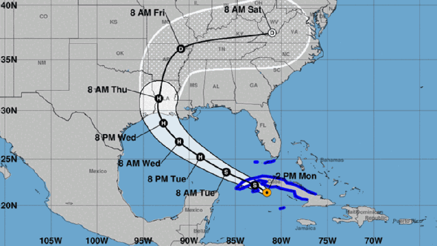 Tropical Storm Laura could make landfall in southeast Texas on Aug.26 as a Category 3 hurricane, according to predictions as of Aug. 25. (Courtesy U.S. National Weather Service)