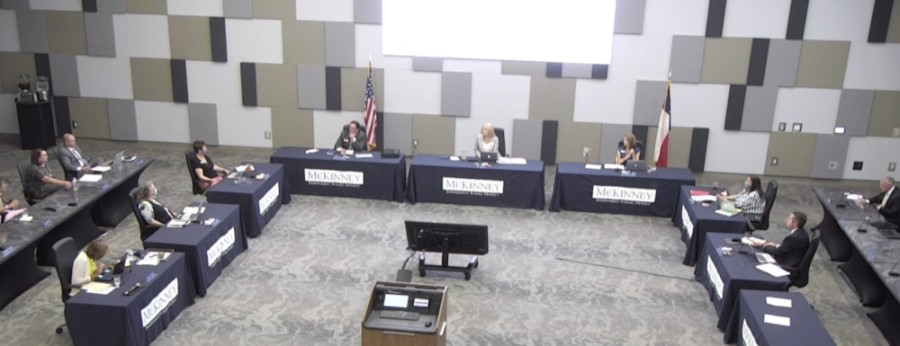 The board approved its property tax rate for the 2020-21 school year at an Aug. 25 meeting. (Screenshot courtesy McKinney ISD)