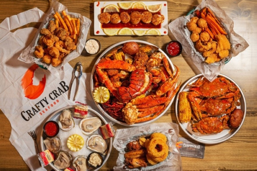 The home-style seafood restaurant is inspired by New Orleans cuisine and offers seafood boils, featuring crab, lobster, shrimp, crawfish, clams and mussels. (Courtesy Crafty Crab)