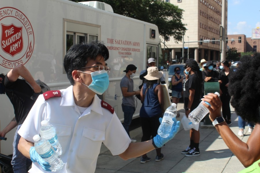 The Salvation Army brought water and face masks to the George Floyd demonstrations in Houston. Now, they have been activated to assist those affected by Hurricane Laura in East Texas and Louisiana. (Emma Whalen/Community Impact Newspaper)