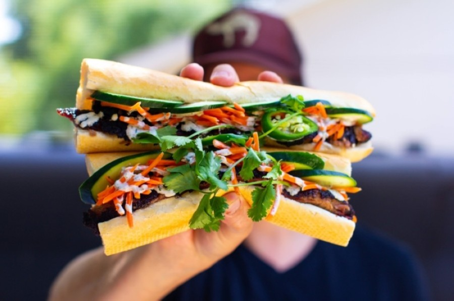 Texas barbecue and Vietnamese fusion spot Smokin' Beauty is holding its grand opening Aug. 28. The eatery features signature fusion dishes, such as its smoked brisket banh mi. (Courtesy Smokin' Beauty)