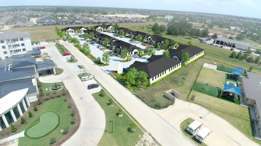 Bishop Square Business Park will be built on 4 acres on Mueschke Road in Cypress. (Rendering courtesy Texas Sage Properties)