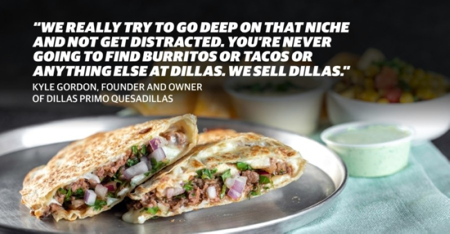 The Lone Star is a bestseller at Dillas, according to founder and owner Kyle Gordon. The quesadilla comes with smoked brisket, red onion, cilantro, barbecue sauce, a cheese blend and jalapeno ranch. (Photo courtesy Dillas Primo Quesadillas; Design by Chelsea Peters/Community Impact Newspaper)