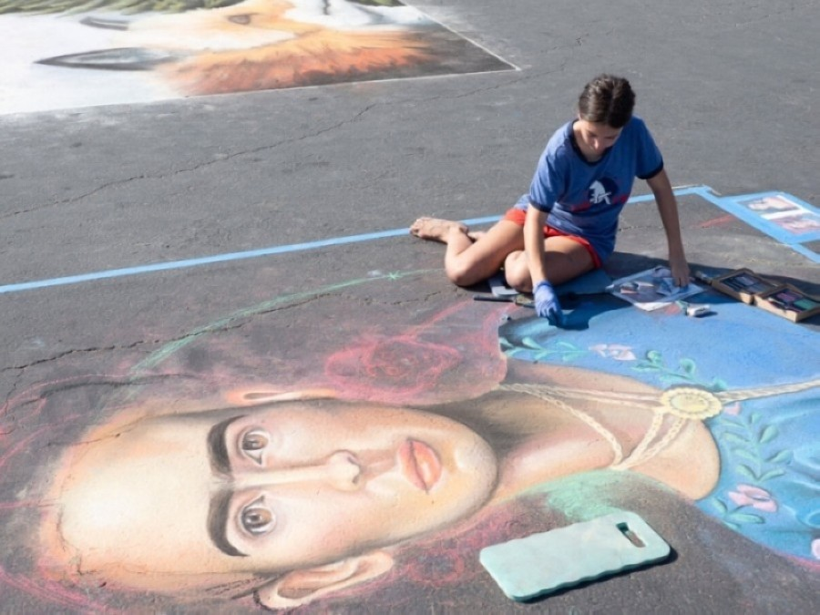 "Participants can draw chalk artwork on their sidewalks and driveways that help promotes the event's theme of ""Round Rock spirit."" (Courtesy city of Round Rock)"