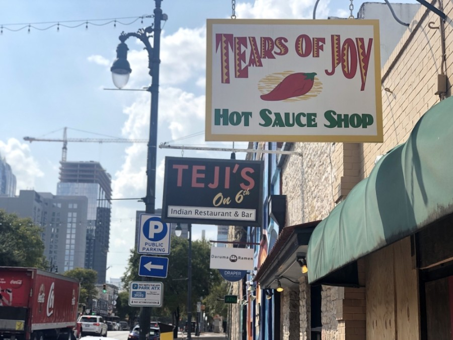 Tears of Joy Hot Sauce Shop, located at 618 E. Sixth St., will close its storefront on Sept. 30 to focus on its grocery and online retail business. (Jack Flagler/Community Impact Newspaper)