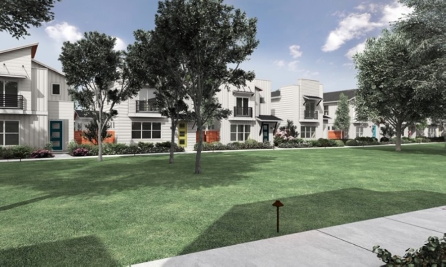 Cooper's Square will have a central green space. (Rendering courtesy Legacy Communities)