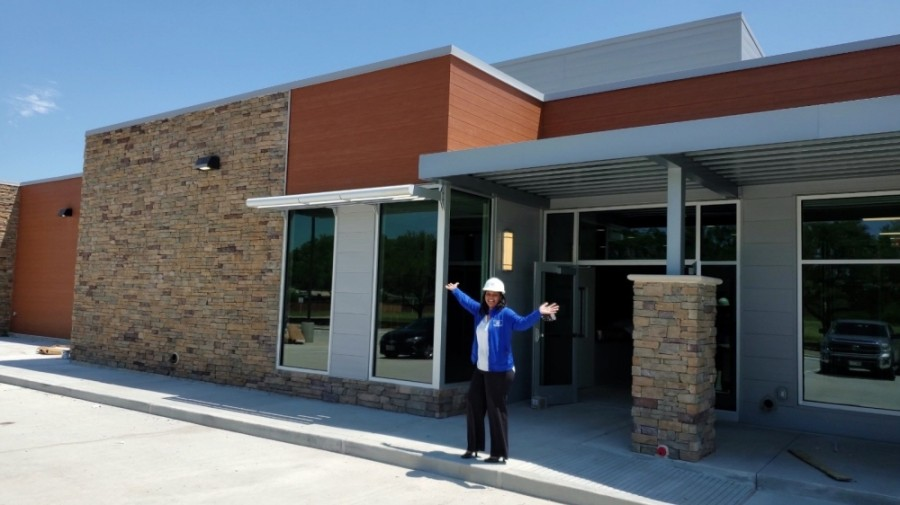 Zenae Campbell, vice president of programs and club operations at Boys & Girls Clubs of Greater Houston, is seen in front of the new Mission Bend facility. (Courtesy Boys & Girls Clubs of Greater Houston)