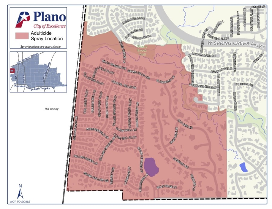 Areas in and around the location of the case will be sprayed by city crews Sept. 3 beginning at 9 p.m., according to a news release. (Courtesy city of Plano)