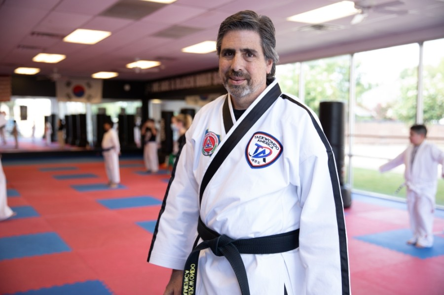 Bill Mischke has been the owner and lead instructor of Flower Mound Taekwondo for 16 years. (Liesbeth Powers/Community Impact Newspaper)