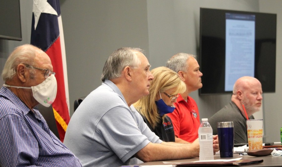 From left: ESD No. 11 Commissioners Fred Grundmeyer, Steve Williams, Karen Plummer, Kevin Brost and Robert Pinard meet Sept. 8. (Andy Li/Community Impact Newspaper)