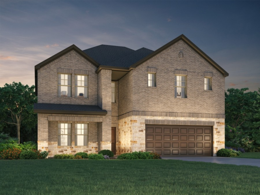 The Kendall, one of nine floor plans to be offered in the new neighborhood, includes four bedrooms, two and a half baths and a two-car garage, totaling 2,905 square feet. The first homes are expected to be for sale this fall. (Rendering courtesy Meritage Homes)