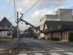 Downtown Lake Charles, Louisiana, had extensive damage to power lines and businesses in the wake of Hurricane Laura. (Courtesy KPLC-TV)