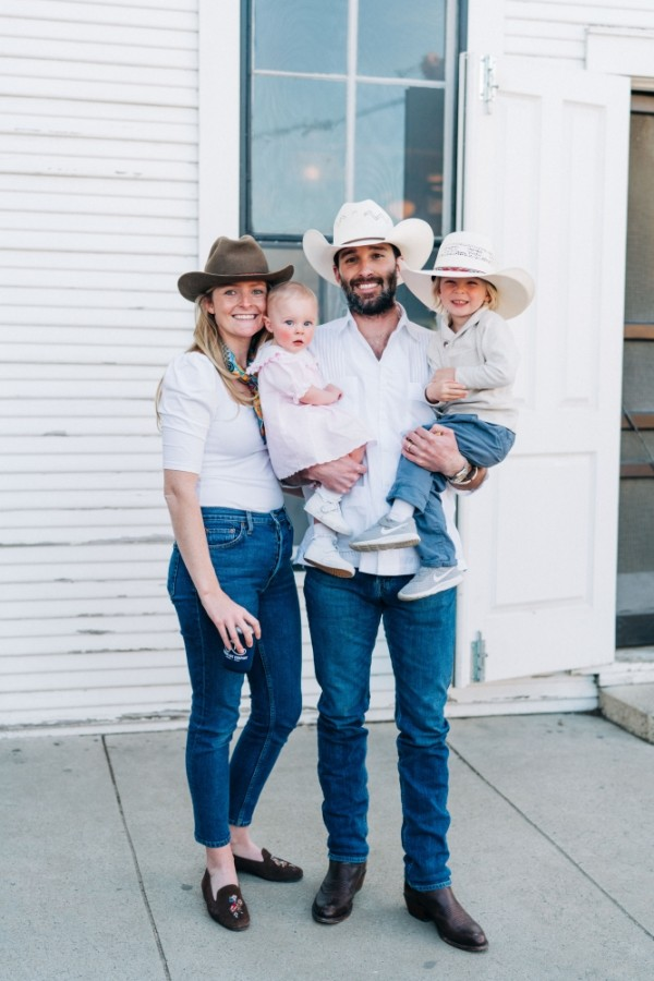 Cody and Katie Courtney, owners of Gruene Hat Co., pose with their children. (Courtesy Caroline B. Photo/Gruene Hat Company)