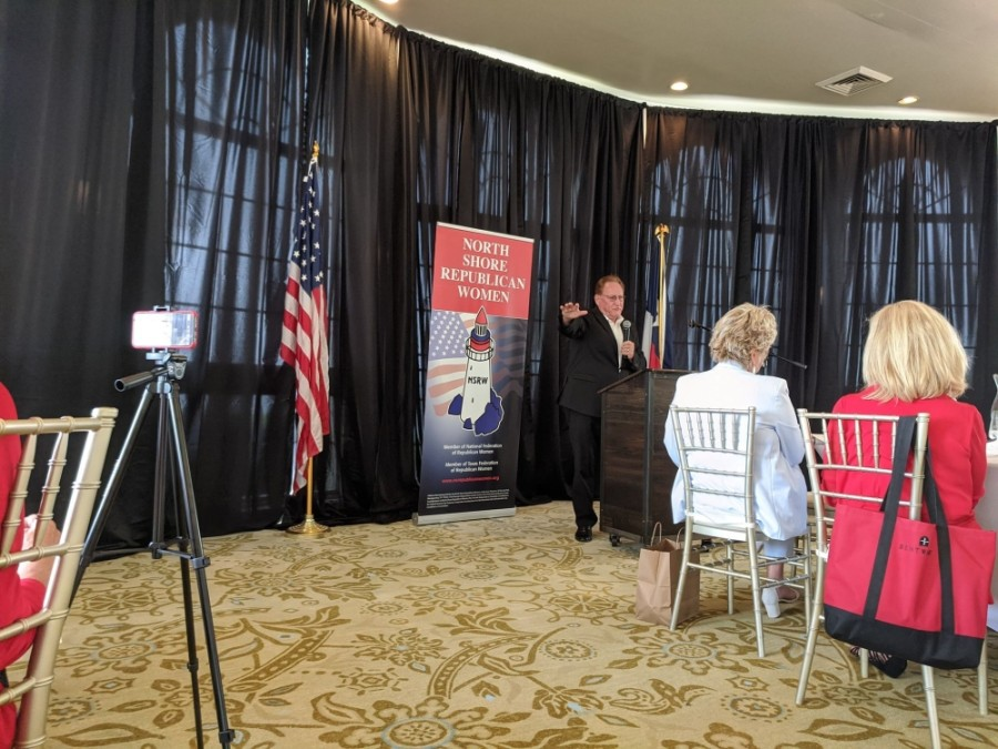 Montgomery County Judge Mark Keough spoke at a Sept. 2 North Shore Republican Women's luncheon in Montgomery. (Eva Vigh/Community Impact Newspaper)