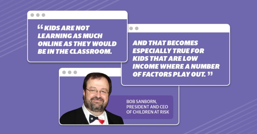 Dr. Bob Sanborn, president and CEO of Houston-based nonprofit Children at Risk, said while the challenges of online learning will affect all students, those from low-income families are at a higher risk of falling behind. (Graphic by Anya Gallant)