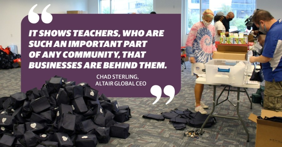 The over 4,500 personal protective equipment kits were delivered to each Frisco ISD campus Sept. 4. (Elizabeth Uclés/Community Impact Newspaper) (Designed by Chelsea Peters)